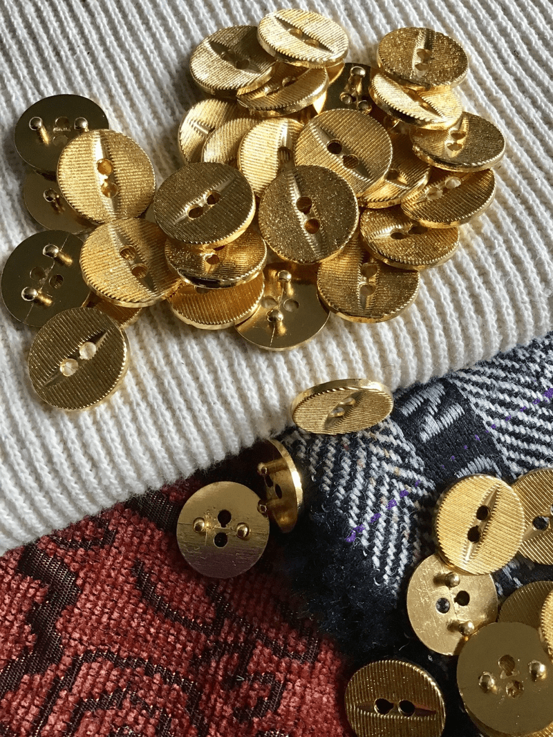 "Textured Gold Metal 2 Hole 5/8"" (15mm) 24L Vintage Small Buttons #582"