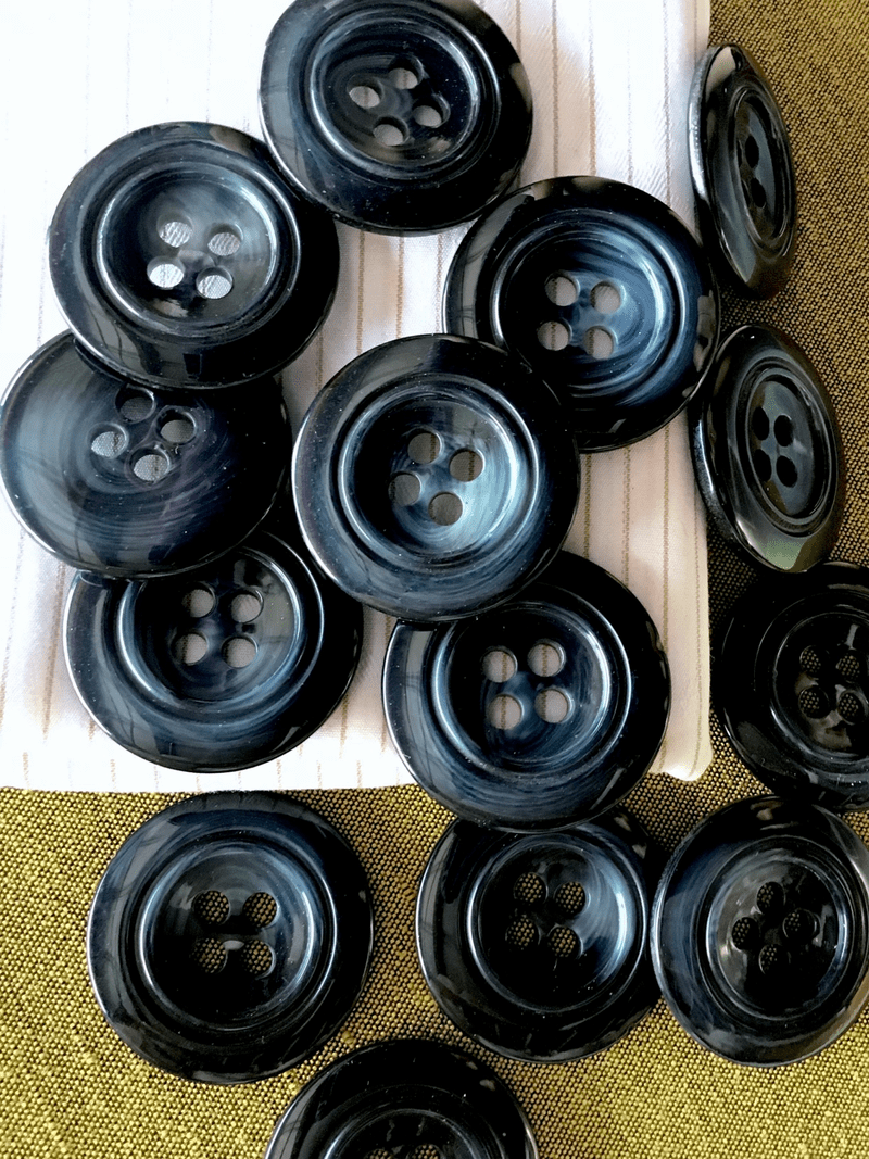 """Textured Prussian Black Italian Button 4 Hole 1-3/8"""" (35mm) 54L Vintage Large Buttons #781"""