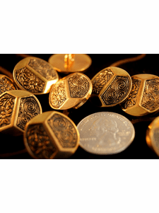 """Vintage Embossed Flower Shank Gold Buttons 7/8"""" inch (10 pcs)"""