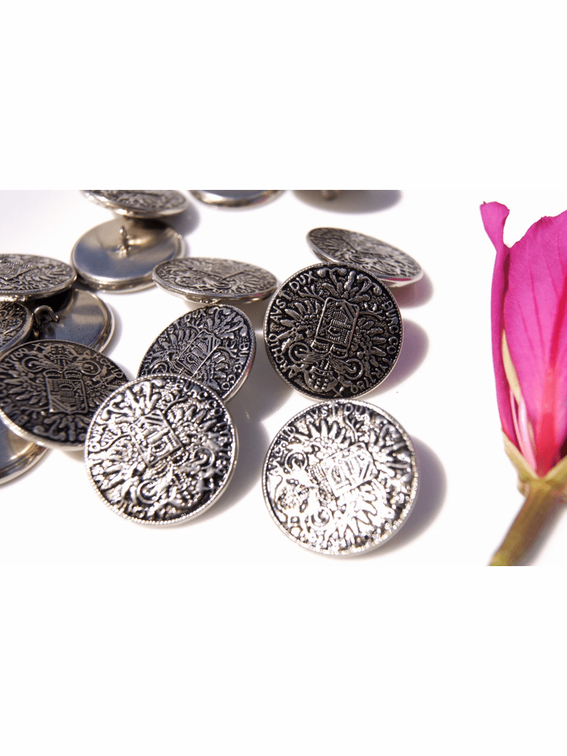 """Vintage Embossed Silver Metal Shank Buttons 1 1/8"""" inch (6 pcs)"""
