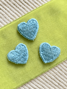 Vintage Embroidered Light Blue Iron-on Heart Decorative Patches #5064