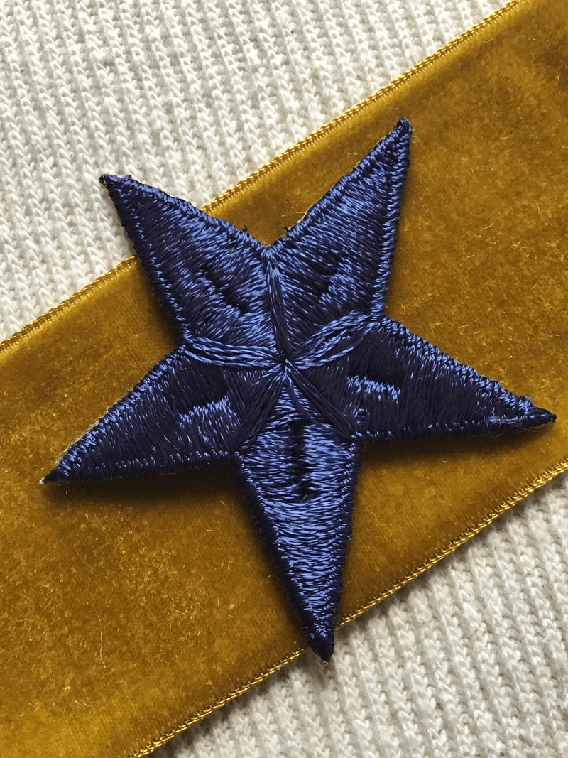 Vintage Embroidered Navy Star Decorative Patch #5017