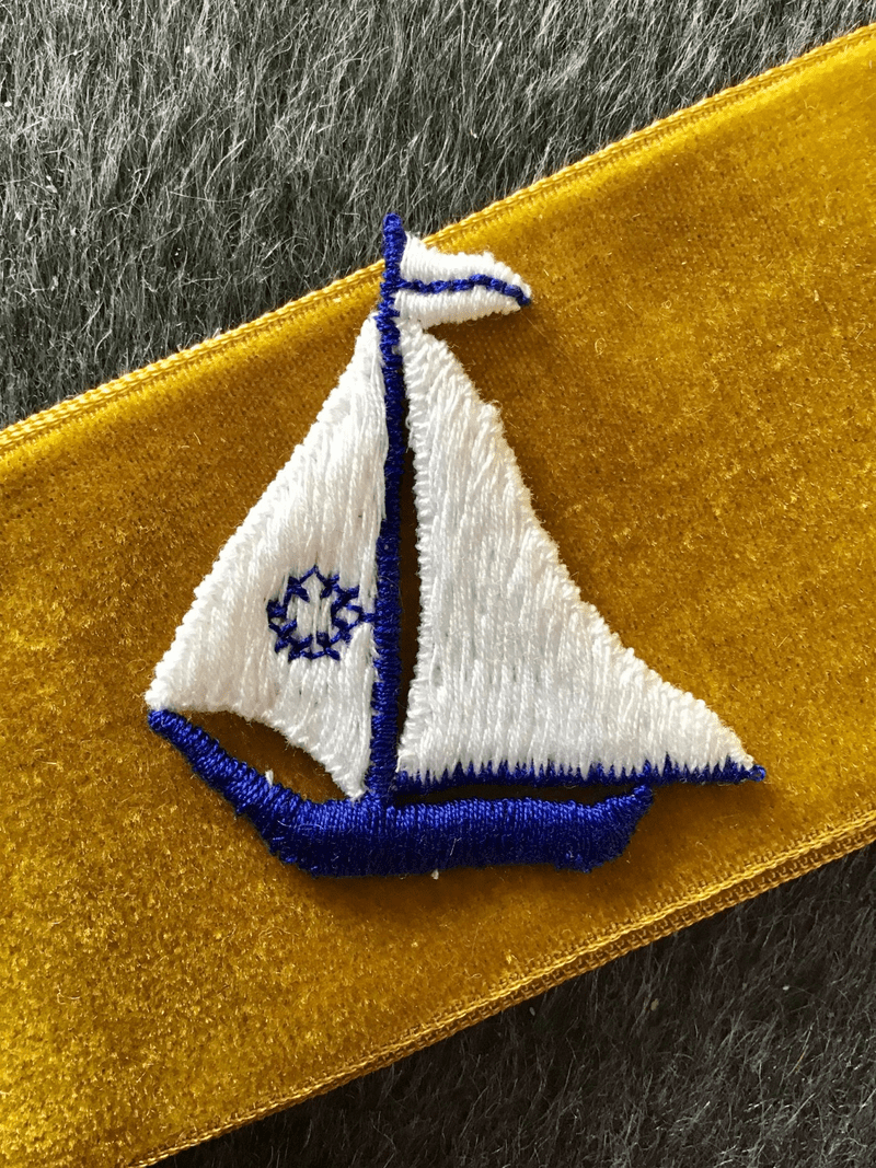 Vintage Embroidered Navy White Sailboat Sew-on Applique Patch #5014