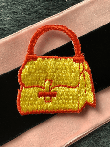 Vintage Embroidery Iron-on Yellow Red Purse Applique Patches #5037