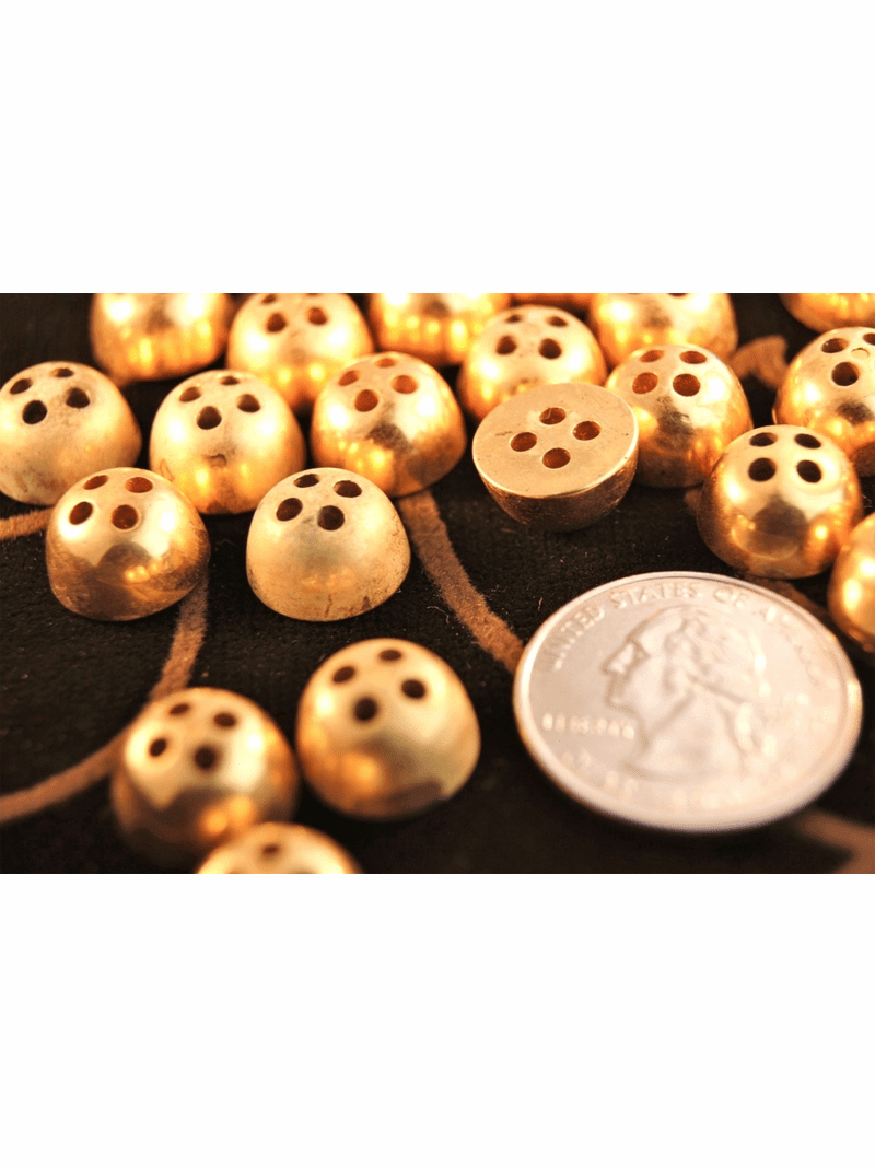 """Vintage Gold Metal Dome 4 hole Buttons 1/2"""" inch (12 pcs)"""