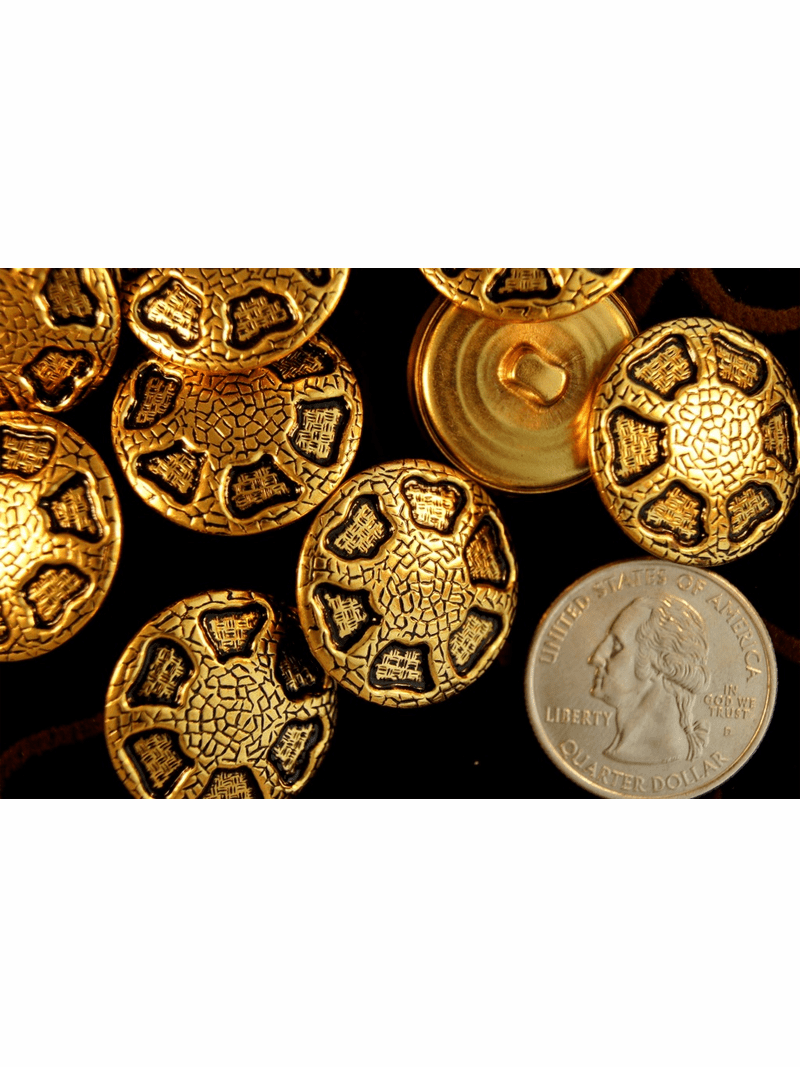 "Vintage Gold Metal Fashion Buttons ÷ 1"" inch (6 pcs)"
