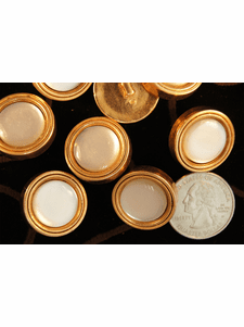 """Vintage Gold Rim Pearl Shank Buttons 7/8"""" inch (12 pcs)"""