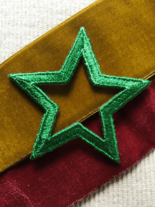 Vintage Green Star Iron-on Embroidery Applique #5019