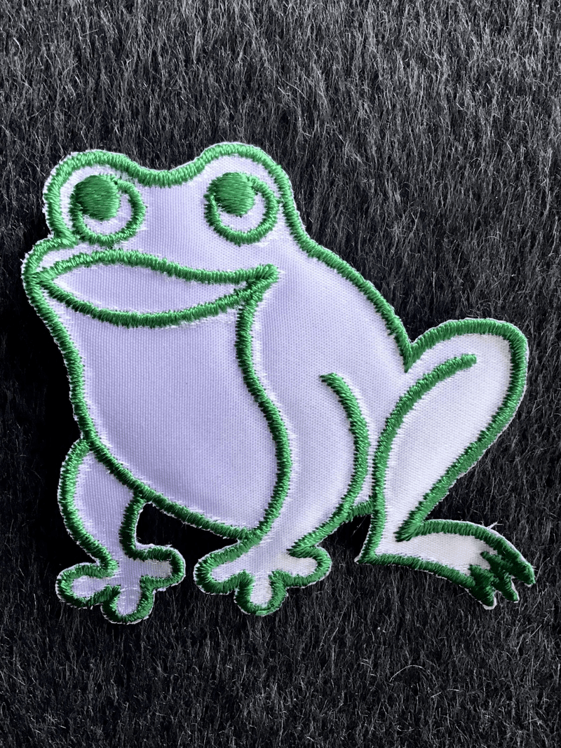 Vintage Green White Iron-on Frog Decorative Applique Patch #5057