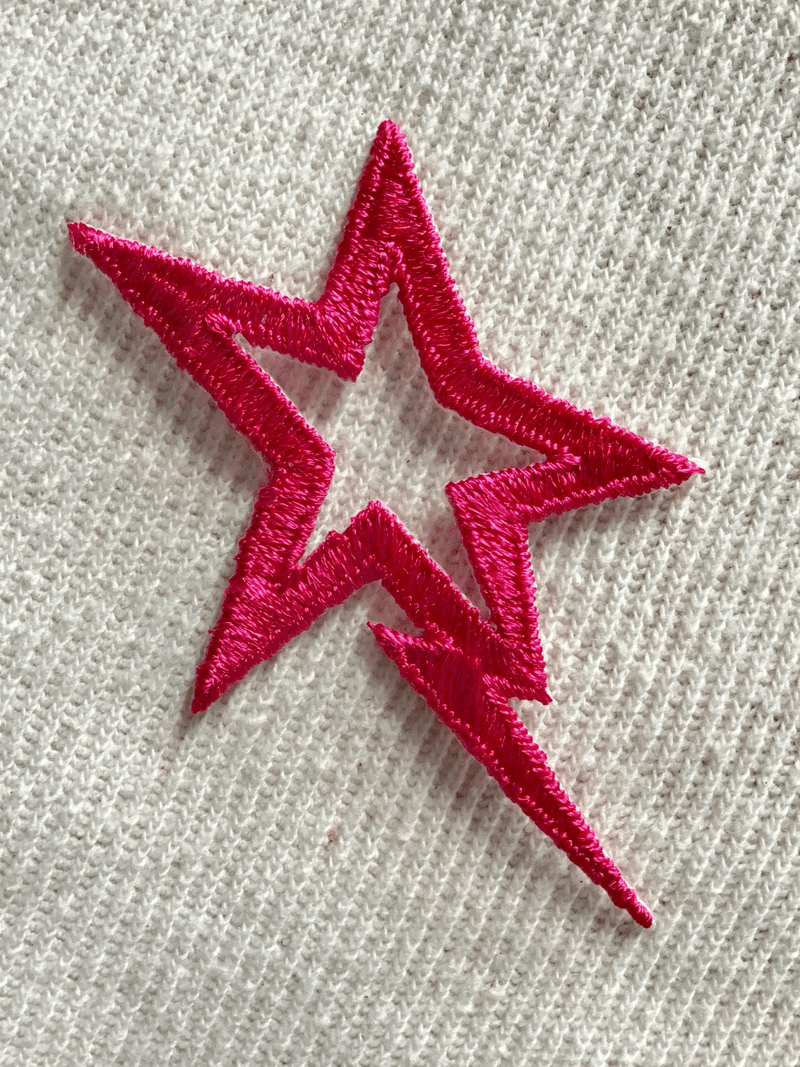 Vintage Hot Pink Electric Star Iron-on Embroidery Patch #5044