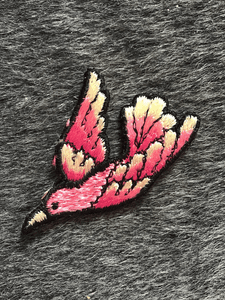 Vintage Iron-on Embroidered Pink Paradise Bird Applique Patch #5040