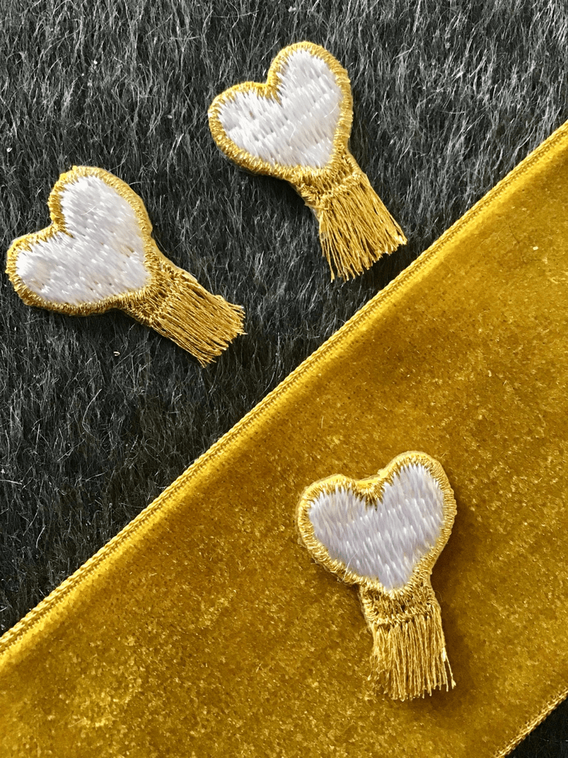 Vintage Iron-on Metallic Gold White Heart Applique Patch #5012