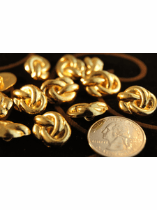 """Vintage Metal Gold Shank Buttons 5/8"""" inch (12 pcs)"""