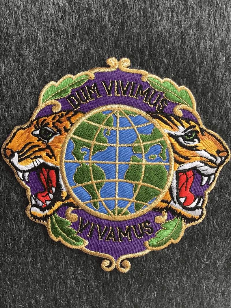 Vintage Metallic Gold Tiger Globe Purpe Embroidered Iron-on Applique Patch #5053