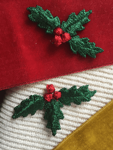 Vintage Mistletoe Holiday Season Decorative Embroidery Applique Patches #5095