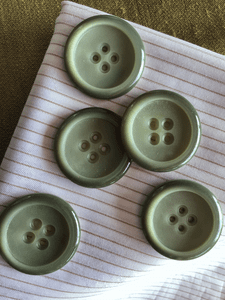 """Vintage Moss Sage Large 4 Hole Italian Button 1-3/8"""" (35mm) 54L Vintage Sewing Buttons #793"""