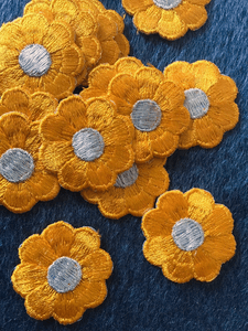 Vintage Orange Metallic Silver Flower Embroidered Iron-on Floral Patch #5007
