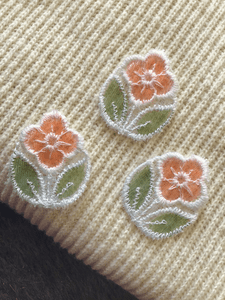 Vintage Orange See Through Flower Embroidered Applique Patch #5051