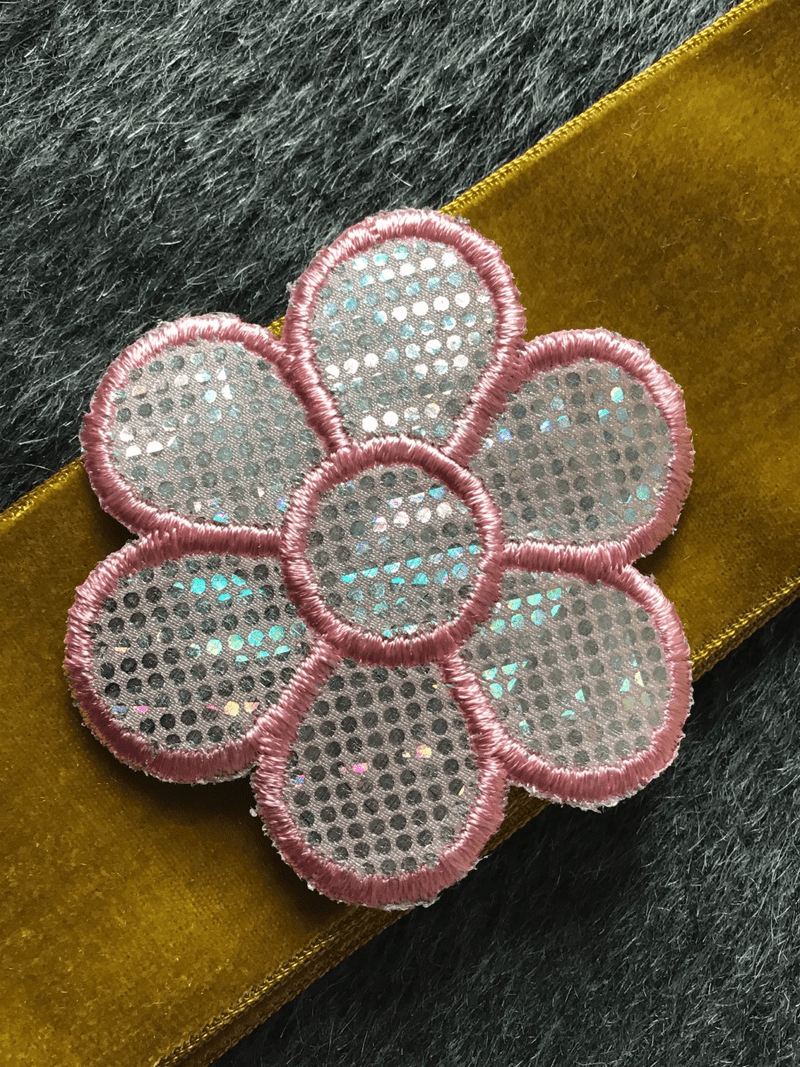 Vintage Pink Metallic Silver Iron-on Decorative Floral Applique Patch #5029
