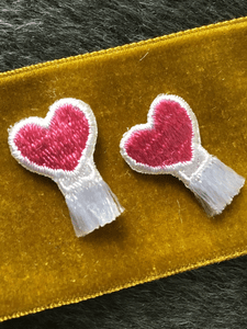Vintage Pink White Heart Iron-on Embroidered Applique Patches #5036