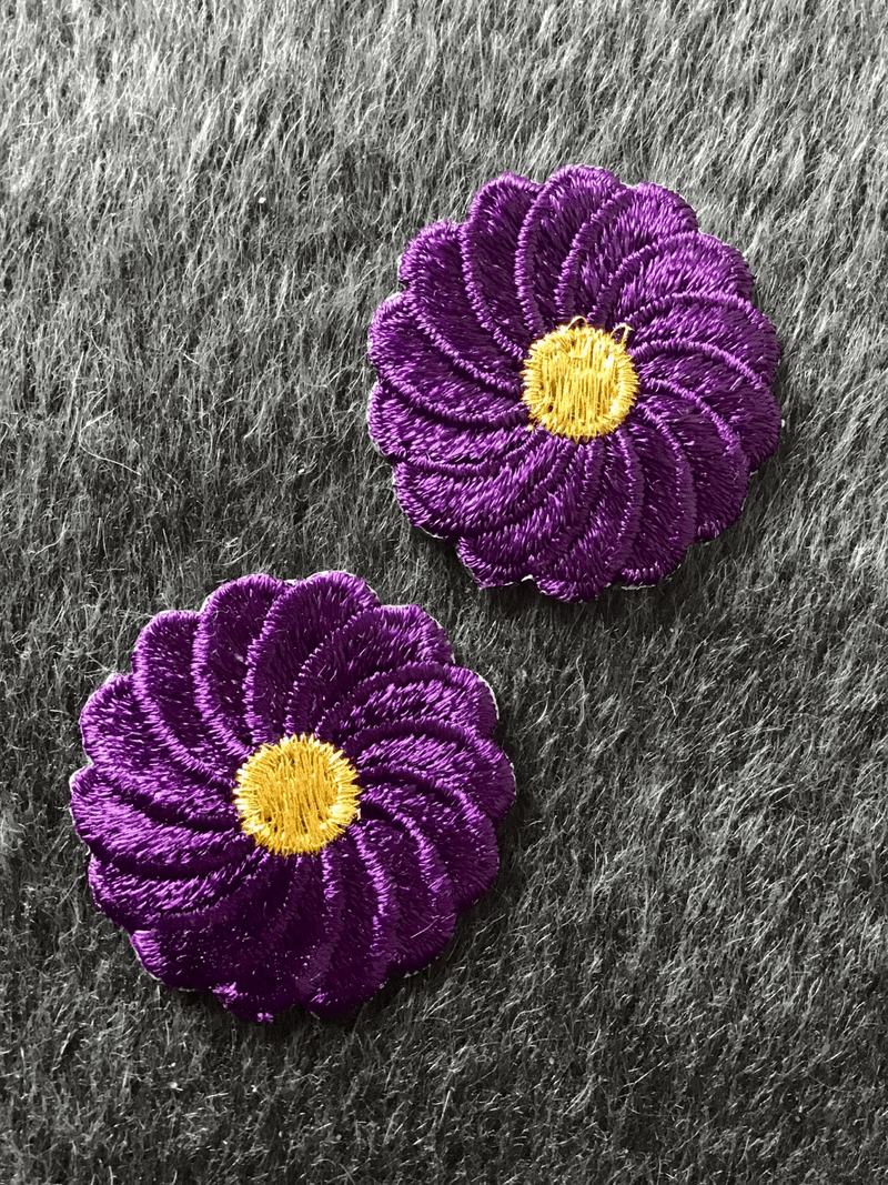 Vintage Purple Metallic Gold Flower Embroidered Iron-on Floral Patch #5006