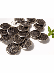 """Vintage Silver Embossed Metal Buttons 1 1/8"""" inch (8 pcs)"""
