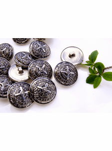 """Vintage Silver Embossed Metal Shank Buttons 7/8"""" inch (8 pcs)"""