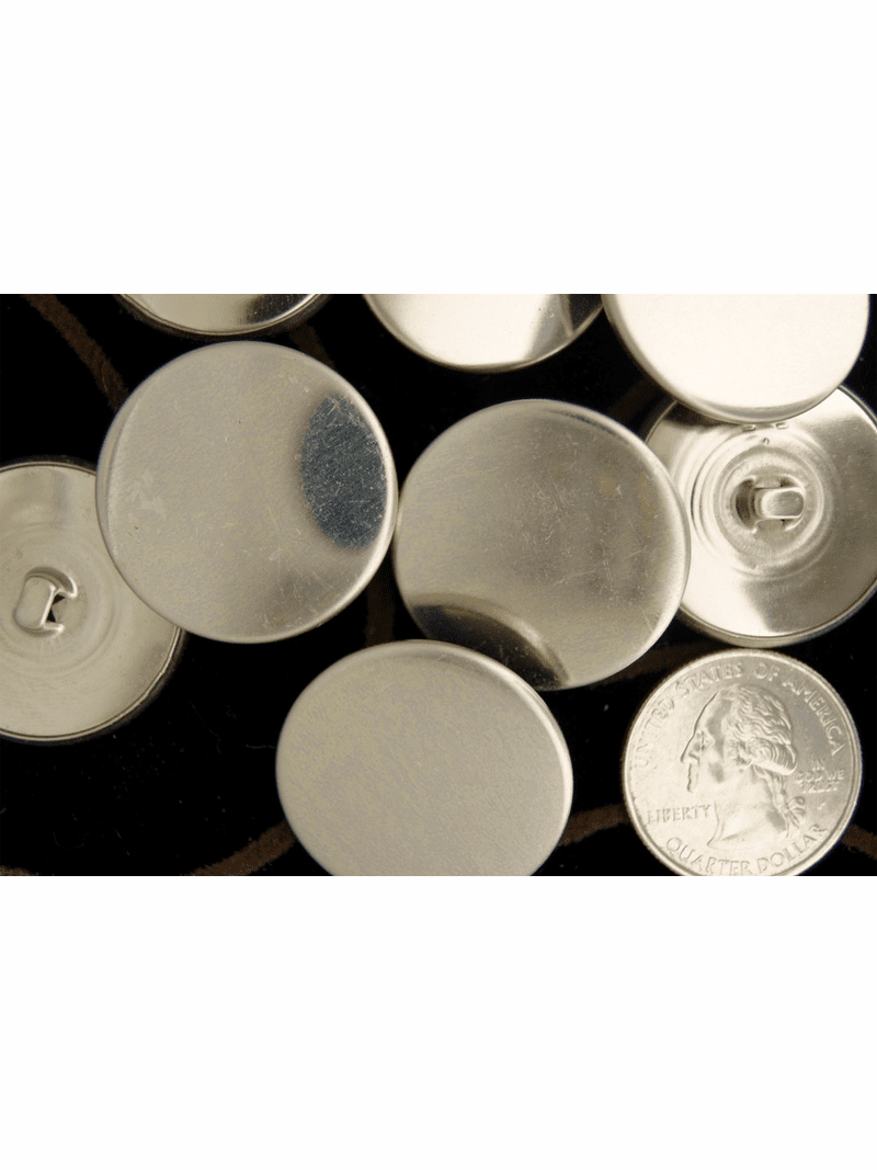 """Vintage Silver Metal Shank Buttons 1 1/8"""" inch (8 pcs)"""