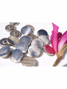 """Vintage Silver Metal Shank Buttons 1"""" inch (10 pcs)"""