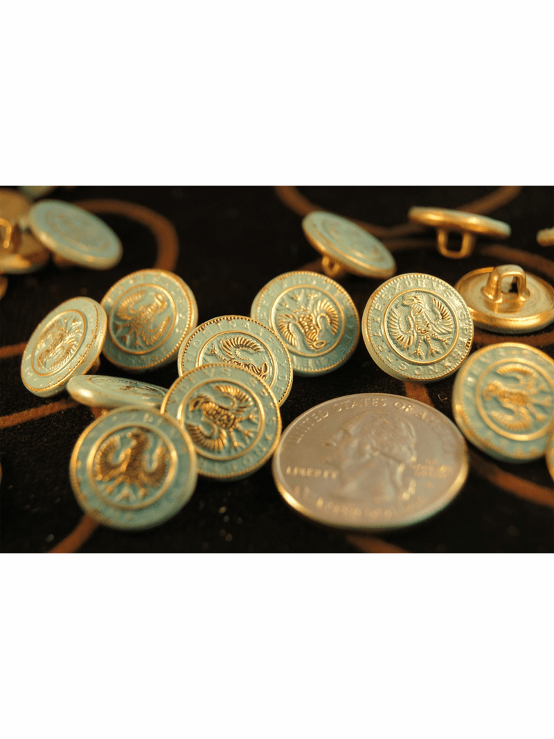 """Vintage Teal Embossed Gold Metal Shank Buttons 5/8"""" inch (10 pcs)"""