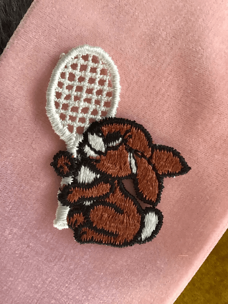 Vintage Tennis Racket Brown Bunny Decorative Applique Patches #5055