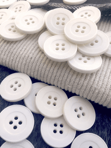 "Vintage White Italian 4 Hole Buttons 15/16"" (23mm) 36L Sewing Buttons #1078"