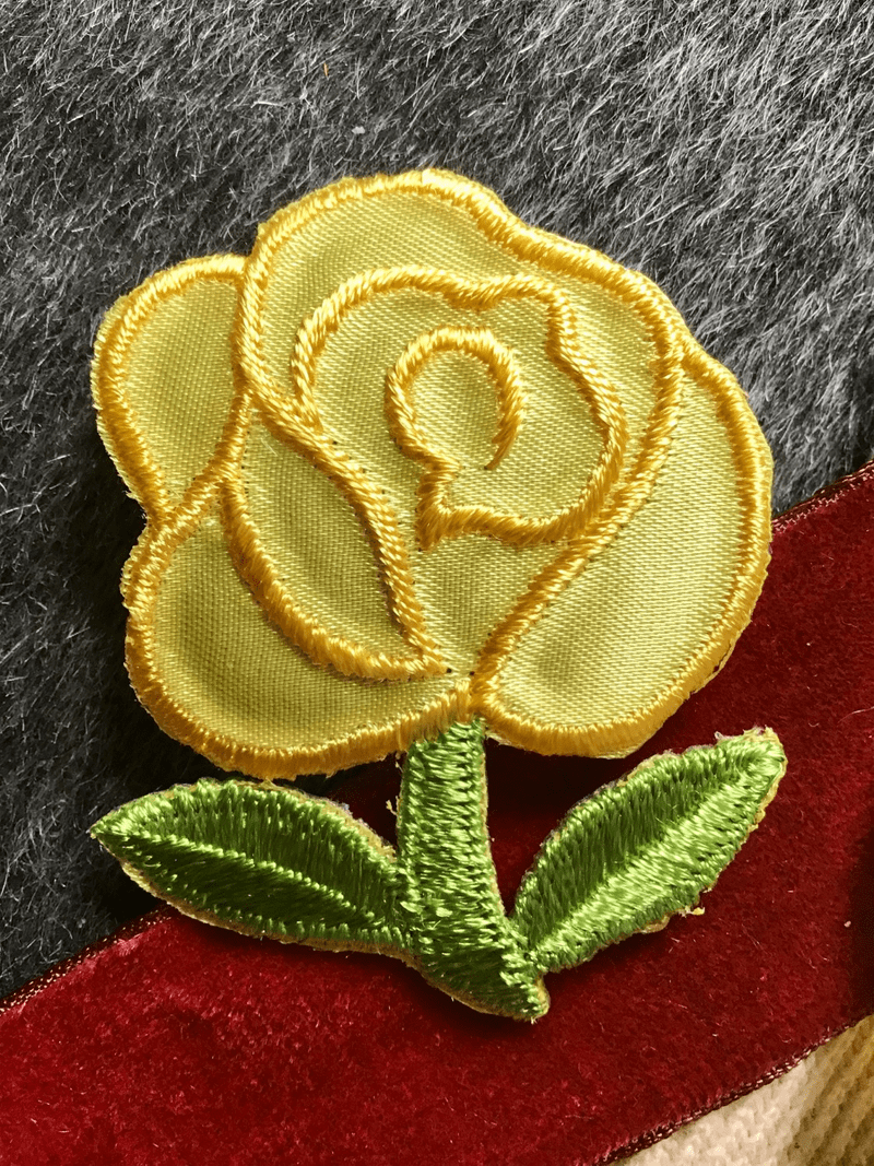 Vintage Yellow Flower Embroidered Floral Applique #5022