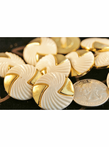"""White and Metallic Gold Designer Vintage Buttons 1"""" inch (12 pcs)"""