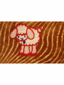 White Sheep Iron On Patch Applique with Red and Blue # appliques-1093