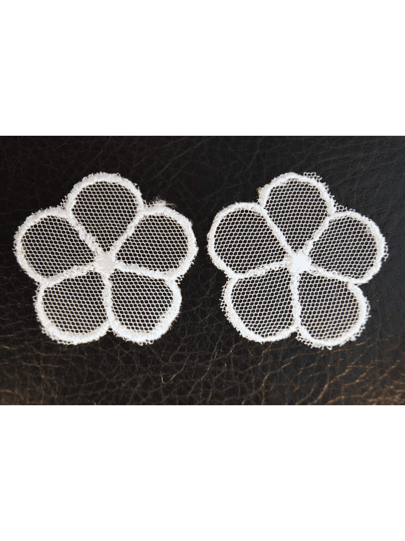 White Sheer Netting 5 Petals Flower Vintage Applique #appliques-55