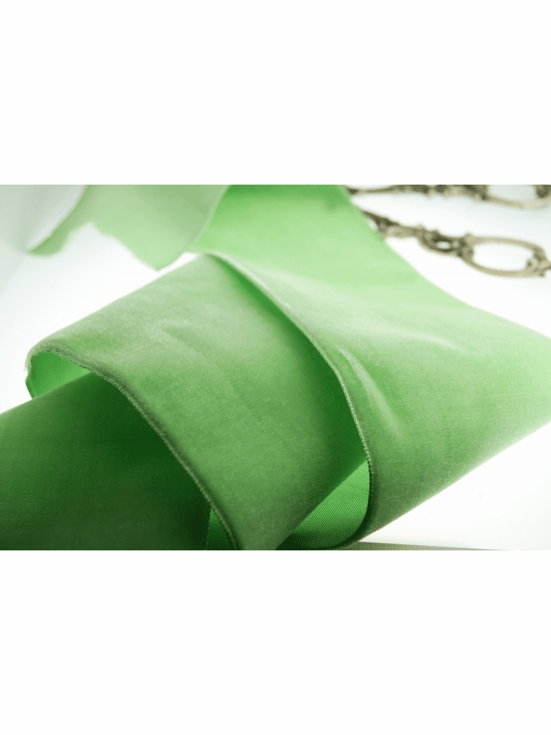 Wide French Velvet Fabric Ribbon Soft Lime 72mm