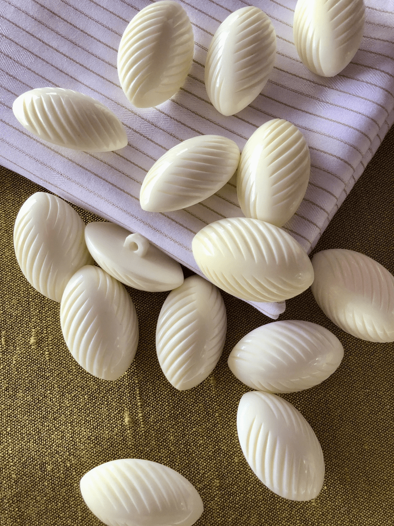 """Winter White Sea Shell Textured Shank Button 1-3/8"""" x 7/8"""" Vintage Italian Buttons #798"""