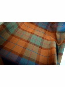 Wool Plaid Fabric in Turquoise Teal Brown Wine 15 yards