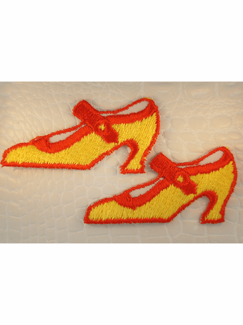 Yellow Gold Red High Heels Shoes Iron-On Applique #appliques-25