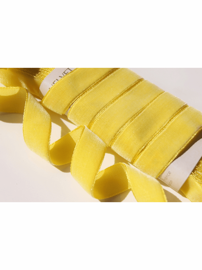 Yellow Velvet Ribbon by the Yard 16mm