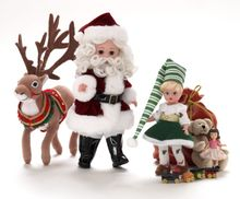 "8"" SANTA'S WORLD - Santa, elf, reindeer and toys"