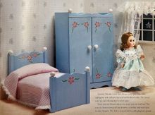 """BED & ARMOIRE for 8"""" DOLL - bedding included - doll not included"""