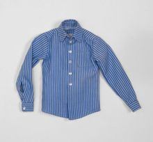 "BLUE STRIPED LONG SLEEVES SHIRT - fits 17"" male"