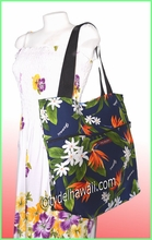 Large Hawaiian Print Tote Bag w/Top Zipper - 113Navy