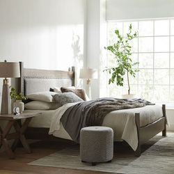 Benchmade Live Edge Upholstered Bed by Bassett Furniture