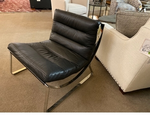 Modern Chrome Black Leather Chair