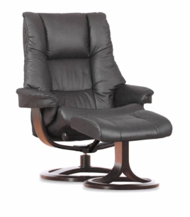 Nordic 60 Recliner Chair and Ottoman in Walnut Leather