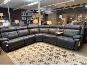 Power Reclining Leather Sectional Sofa by Bassett