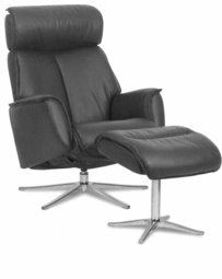 Space Chair with Ergo Tilt and Ottoman in Anthracite Leather